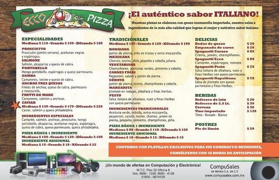 Ecco Pizza: Nueva Carta 2014