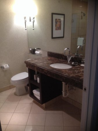 Hotel ZaZa Dallas : Beautiful bathroom with marble countertops and very nice tile flooring