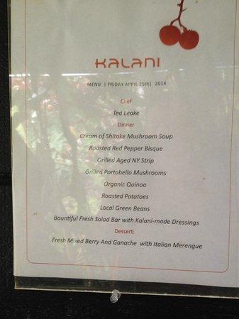 Kalani: Dinner menu