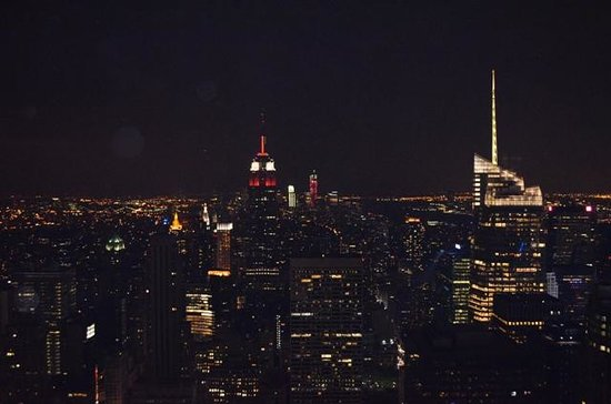 Observatorio Top of the Rock: the view at night with the Empire state in the middle