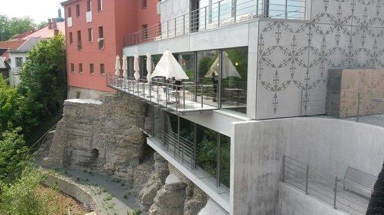 Hotel Rajska Zahrada: Restaurant & wellness from terrace.
