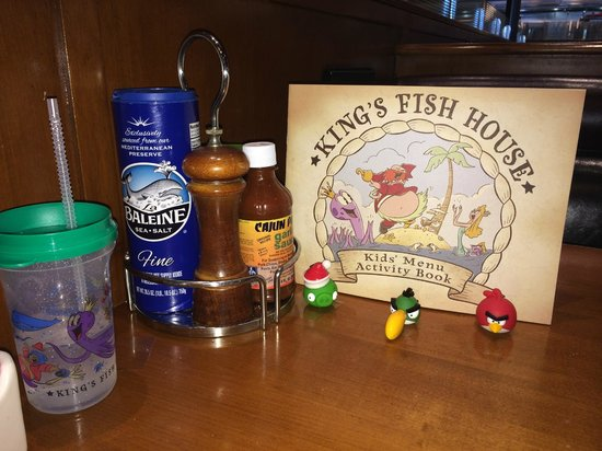King's Fish House: Kids activity book with tattoos; good sea salt and fresh pepper