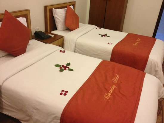 Hanoi Charming Hotel: Rose petals on the beds - twin room