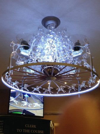 The Saddle Room Restaurant: Racing themed chandelier.