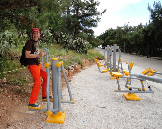Nauplion Promenade: exercisers at the end of promenade next to Arvanitia beach (south side of town, between Acronafp