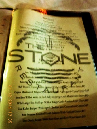 The Stone Restaurant: THE STONE MENU