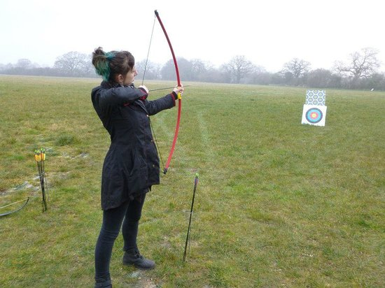 Dorset Country Holidays Glamping: Me trying my hand at archery for the first time!