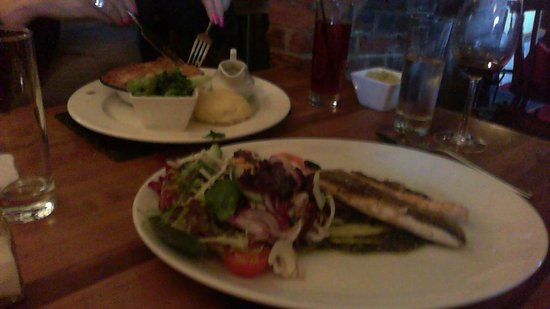 The Axe and Compasses: Sea Bass and Steak and Ale Pie