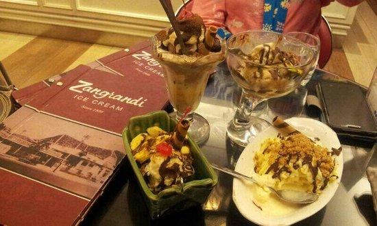 Zangrandi Ice Cream : Zangrandi's avocadocano, noodle ice cream, nutty monkey, classic truffle