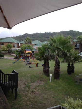Shearwater On Sea : View of park and pool from our deck.