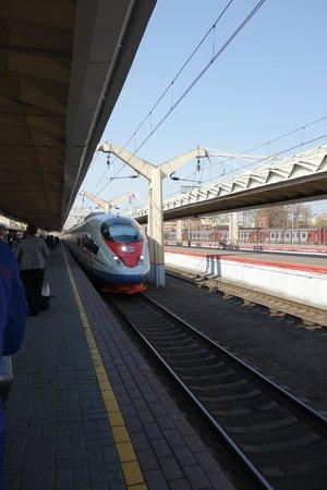 Sapsan Bullet Train: trem chegando na estação