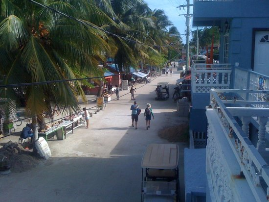 Barefoot Beach Belize: View of the street from 2nd fl balcony