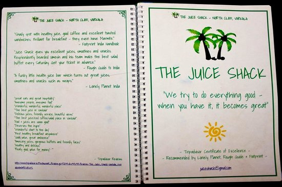 The Juice Shack Expressive And Attractive Menu
