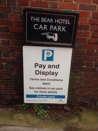 The Bear Hotel: Car park entrance sign