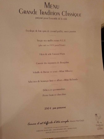 "Restaurant Paul Bocuse : Le menu ""Grande tradition"""