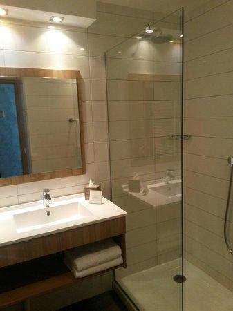 Hotel Les Terrasses du Bailli : Salle de douche chambre balcon
