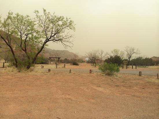 Palo Duro Canyon State Park : tent campsite during dust storm