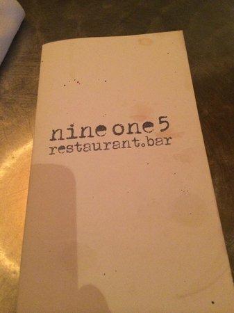 Nine One Five: Menu Cover