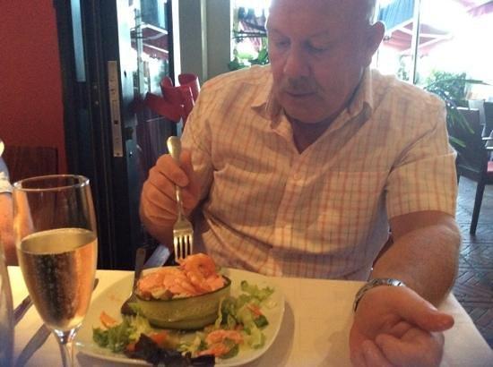Aberdeen Steak House: enjoying a prawn cocktail