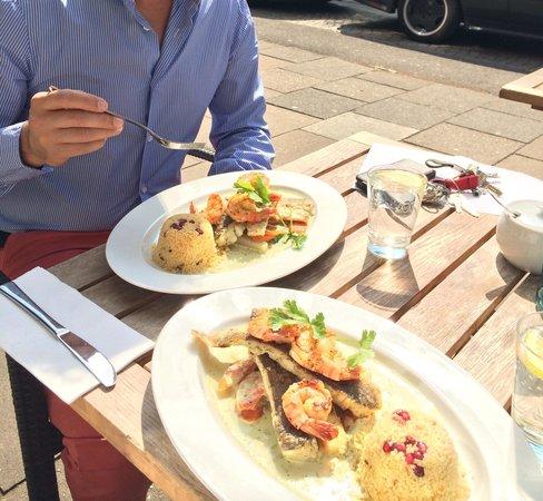 Restaurant L'Orient: Frischer Fisch, feine Soße und knackige Scampis on Top! Qualität vereint mit toller Sonnenterras