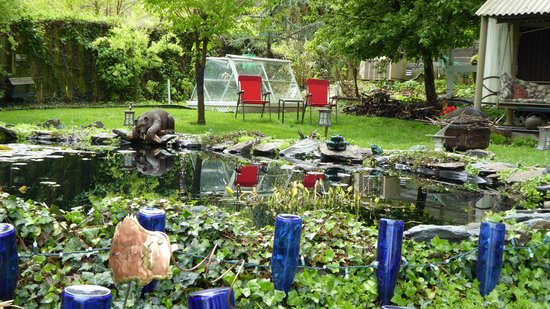 Lily Garden Bed & Breakfast : The scenic back yard lake and bear.