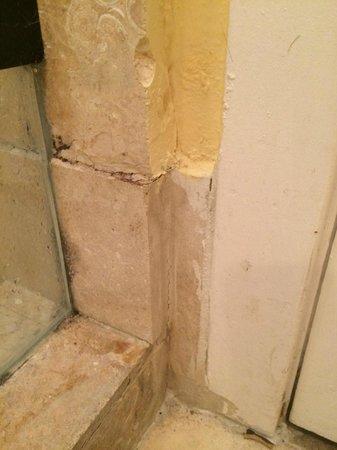 Impala Hotel : tracce di pittura che cola sulle mattonelle nel bagno