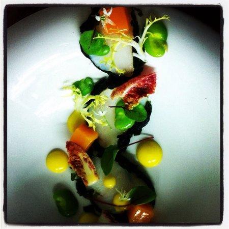 Bonnie Gull Seafood Shack : Smoked monkfish compressed mango broad beans mango emulsion and frisse