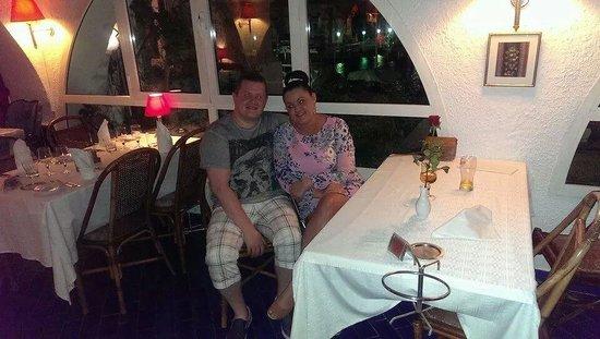 Restaurant Le Méditerranée: Nice photo of us and our table :)