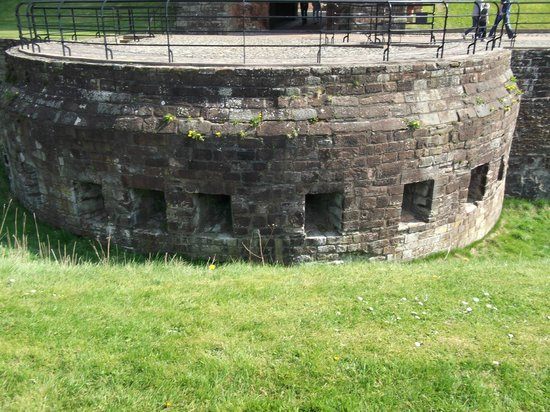 Carlisle Castle: Half-moon Battery.  The hill into which the archery ports are facing didn't used to be there.