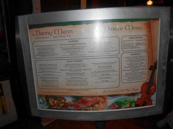 Danny Mann Pub : Le menu