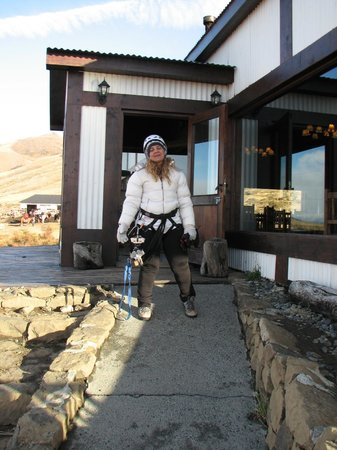 Cerro Frias: En el restaurant con el equipo puesto