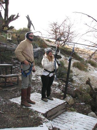 Cerro Frias: A punto de tirarse, en la plataforma