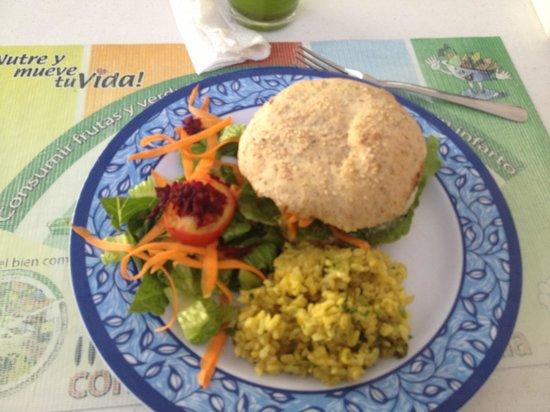 Savia Vegana: Their portobello burger. Delicious!!!