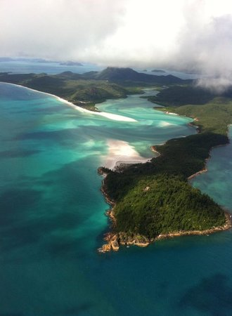 Helicopter view over Whitehaven beach and Hill inlet