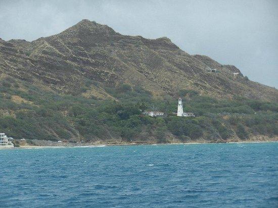 Sail Makani : A view of Diamond Head and Lighthouse from Makani catamaran