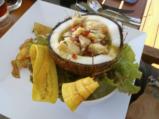 JW Marriott Guanacaste Resort & Spa : Ceviche in Coconut Bowl with Plantains