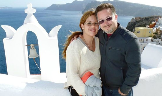 Mystique Luxury Collection Hotel: Me with my husband at Santorini