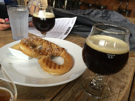 Crux Fermentation Project: pretzel with beer cheese dip for appetizer