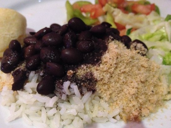 By Brazil Restaurant: Black beans, rice and yucca to compliment my dinner
