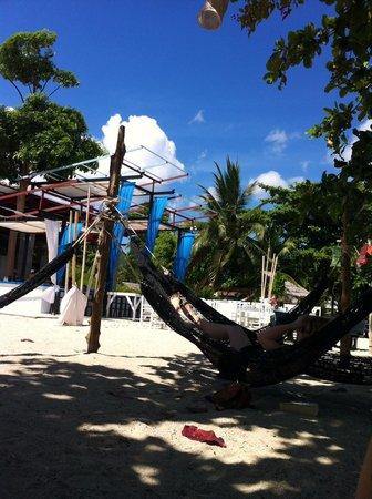 At Beach Bed & Bar : Hängematten vor dem Hostel