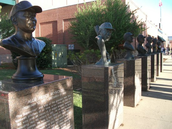 Chickasaw Bricktown Ballpark: Row of busts