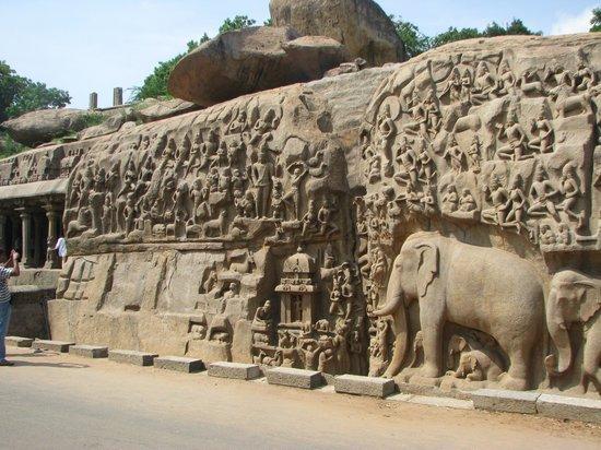 Monuments at Mahabalipuram: Magnifique bas-relief de 27m-9m