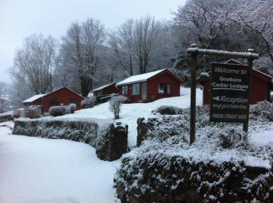 Grattons Cedar Lodges in the snow