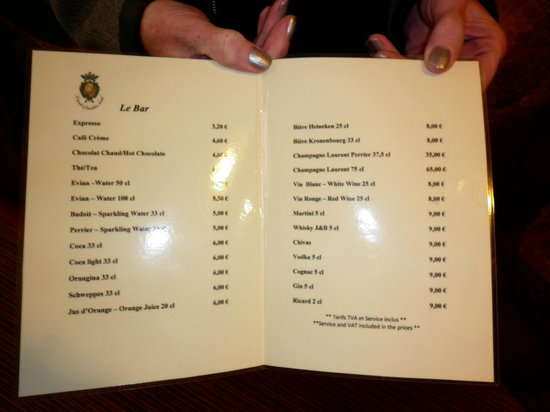 Chambiges Elysees Hotel: Bar price list
