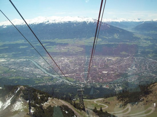 Hotel Sonne: Innsbruck from cable car going to summit of Hafelekar