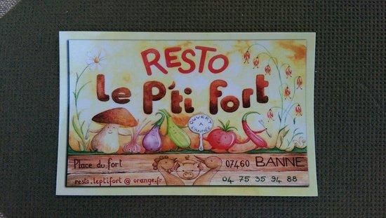Le P'ti fort: Carte de visite du restaurant.