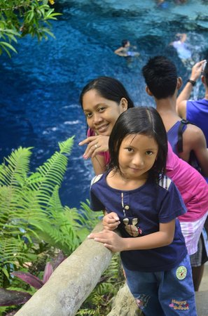 Enchanted River: With my daughter...a pose while on the stairs...at the back is the river