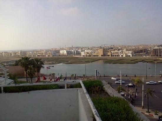 Golden Tulip Farah Rabat: view from rooftop terrace towards Sale and the Atlantic Ocean (far left)