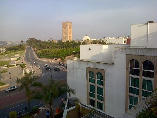 Golden Tulip Farah Rabat: view of La Tour Hassan and the Mausoleum from rooftop terrace