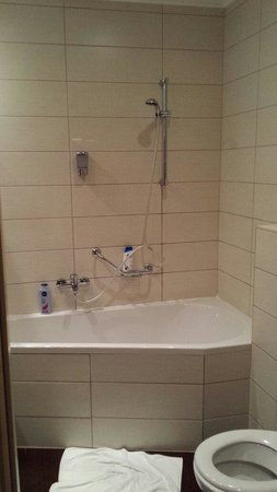 Promenade City Hotel: Shower/bath with no curtain.